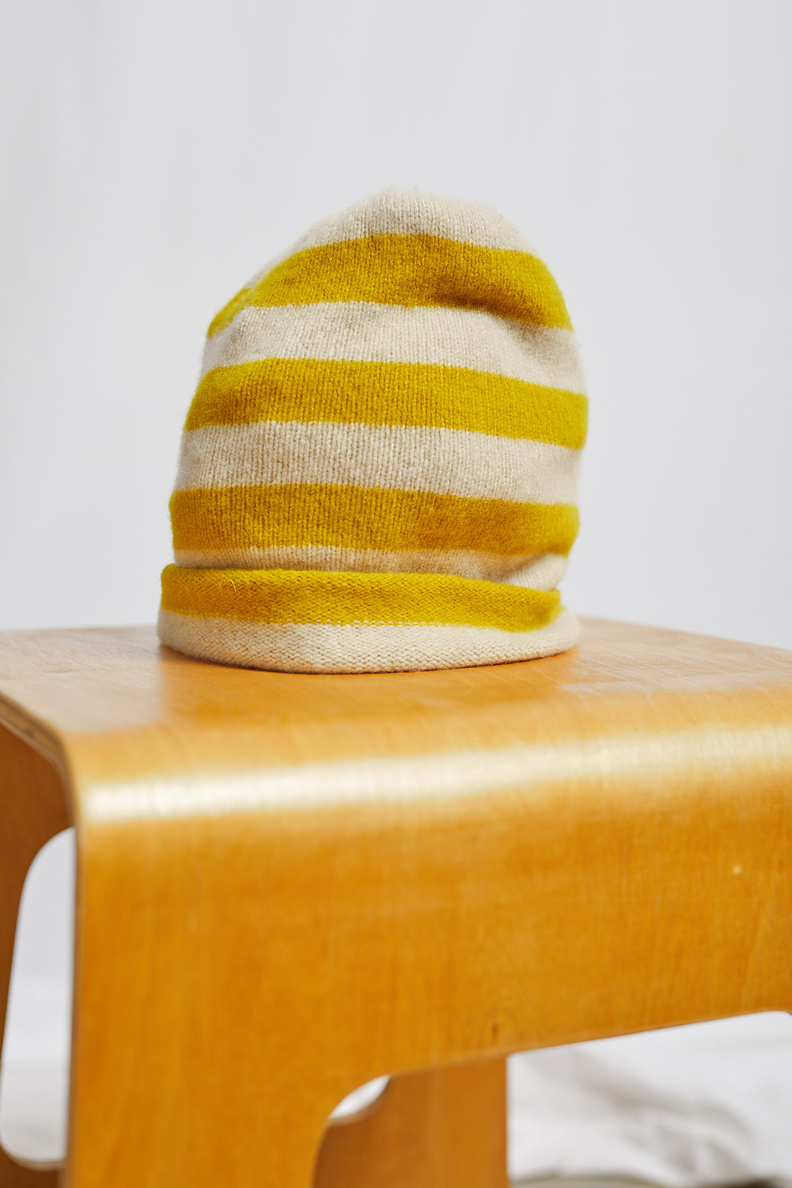 jo gordon stripe hat yellow
