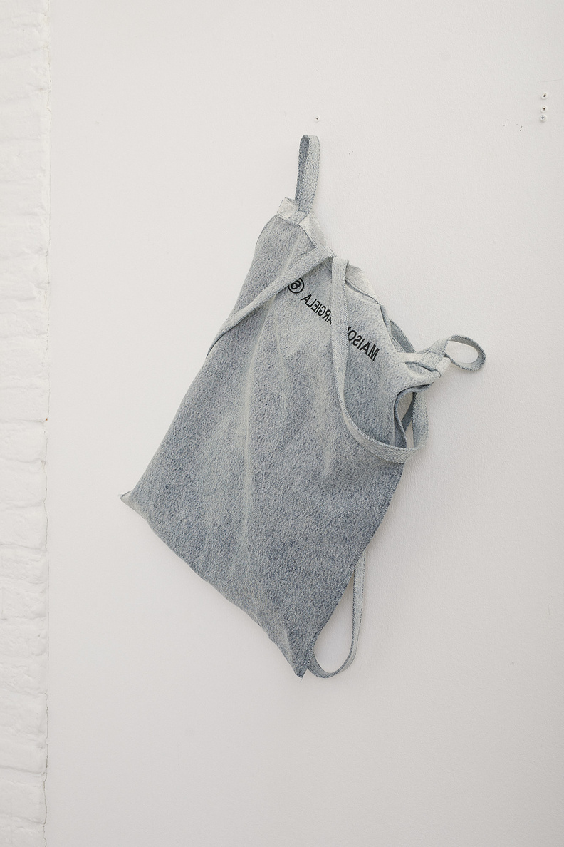 maison margiela mm6 six handle bag light denim