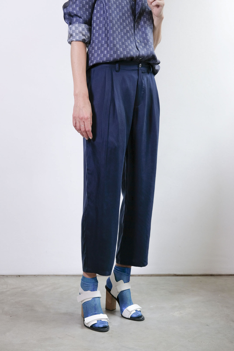 bananatime cropped tailor pant navy