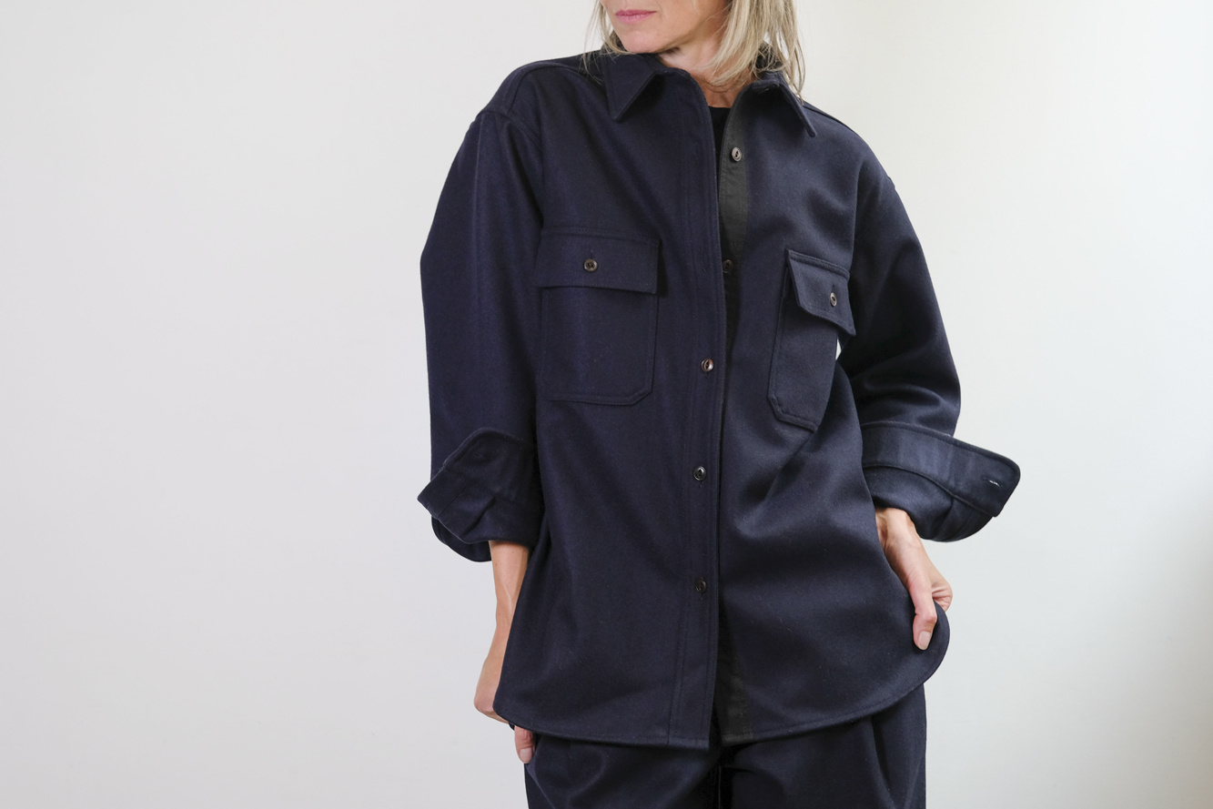 girls of dust deck shirt navy wool