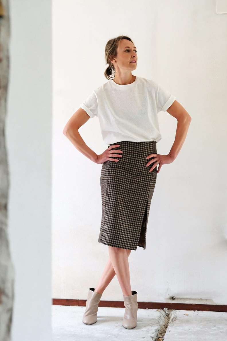 hope pipe skirt beige duo check