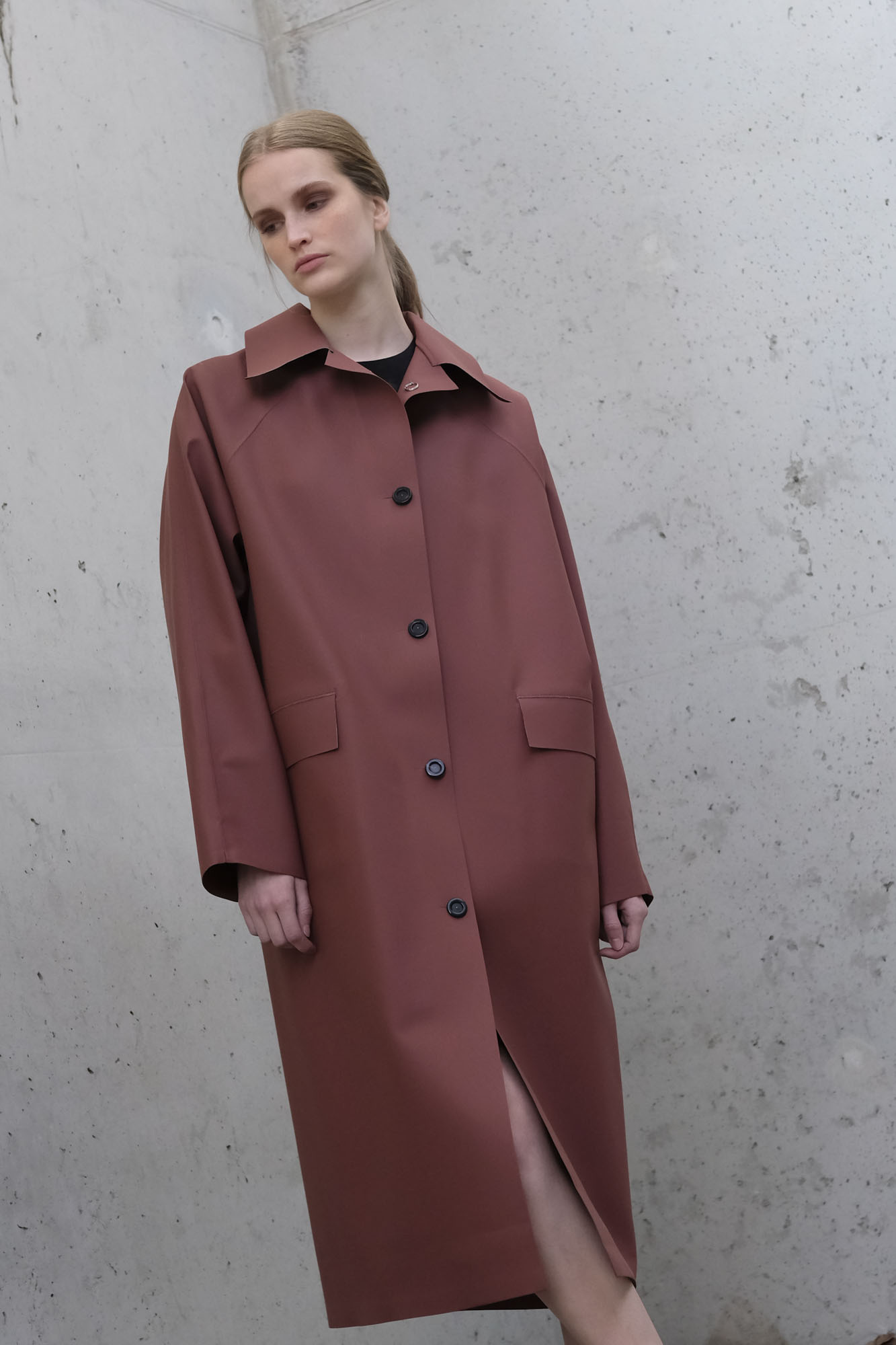 kassl editions coat original below rubber red clay