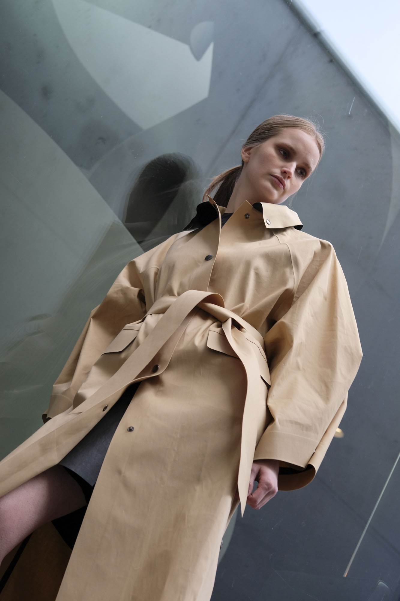 kassl editions coat kimono below trench beige belt beige