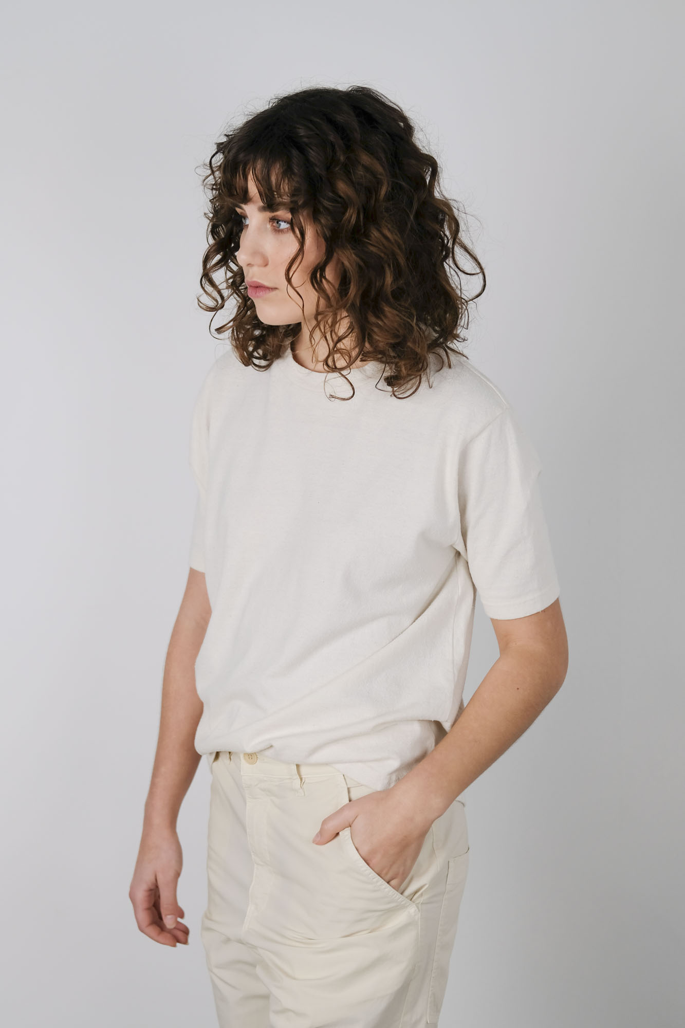 can pep rey cotton silk relax t-shirt ivory