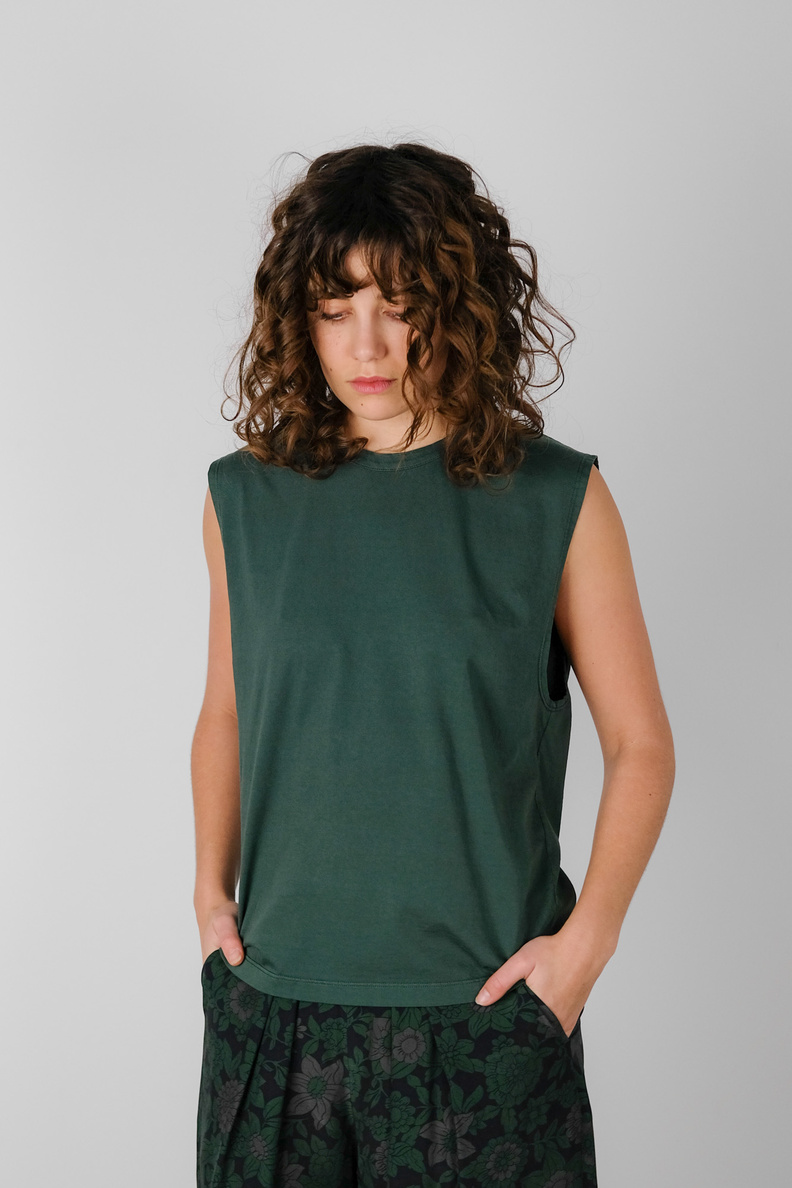 can pep rey sleeveless simple t-shirt green